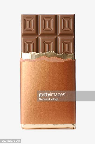 Open chocolate candy bar