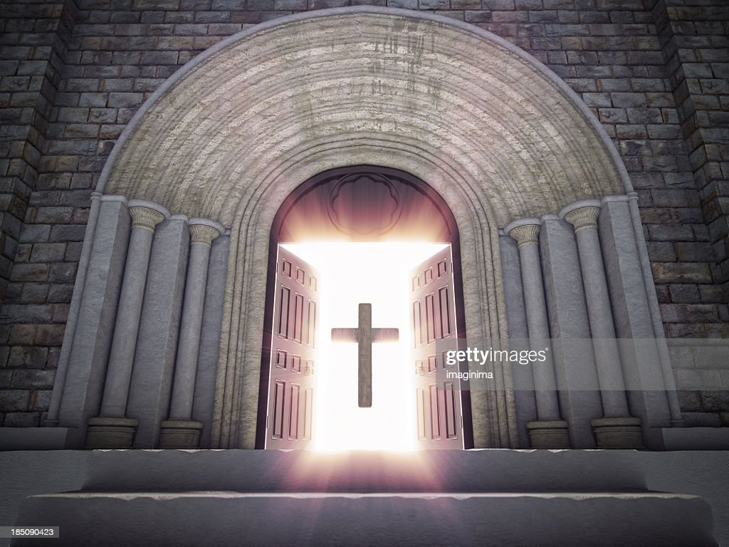 Open church door clipart - Open Church Doors With Cross Stock Photo Getty Images Pezcame Com