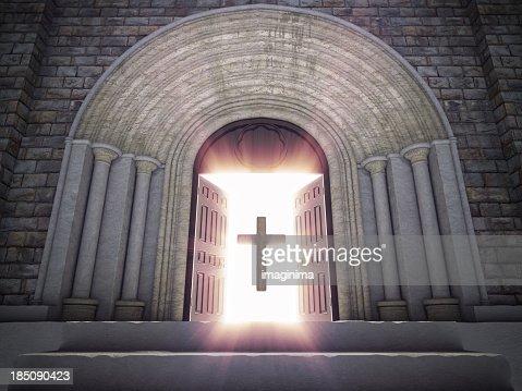 Open Church Doors open church doors with cross stock photo | getty images