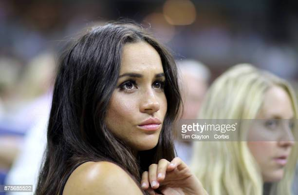 S Open Day 10 Actress Meghan Markle watching Serena Williams of the United States in action against Simona Halep of Romania in the Women's Singles...