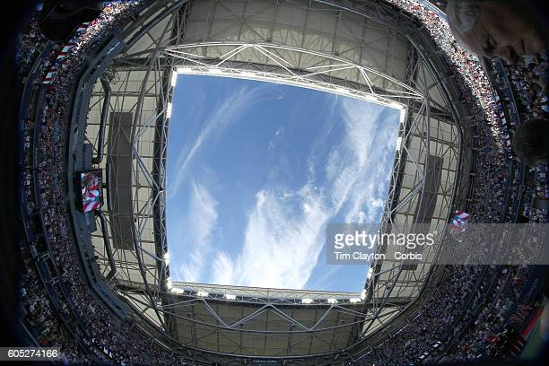 S Open Day 14 A fisheye view of the roof on Arthur Ashe Stadium before Novak Djokovic of Serbia against Stan Wawrinka of Switzerland in the...