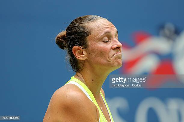 S Open Day 9 Roberta Vinci of Italy reacts during her loss against Angelique Kerber of Germany in the Women's Quarterfinal match on Arthur Ashe...