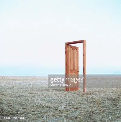 Open door in field