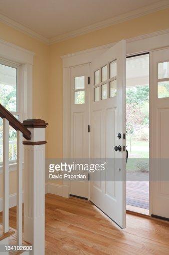 Open door of home interior : Stock Photo