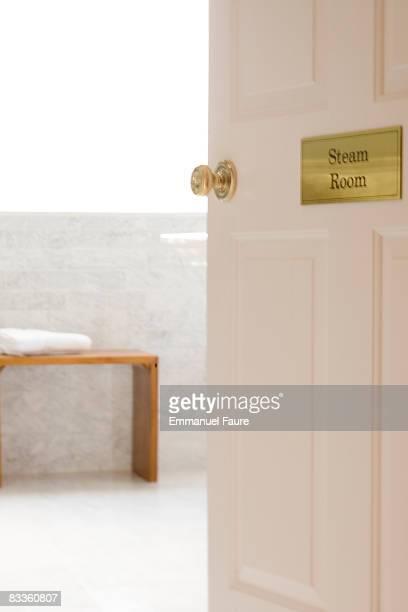 Open door of steam room at spa