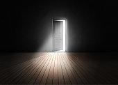 Open door into the darkness.