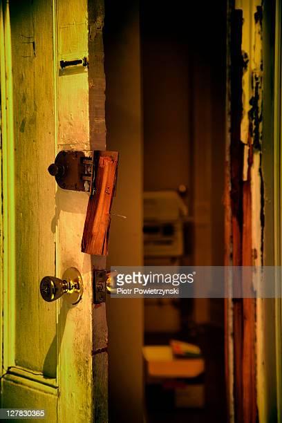 Open door, with lock broken