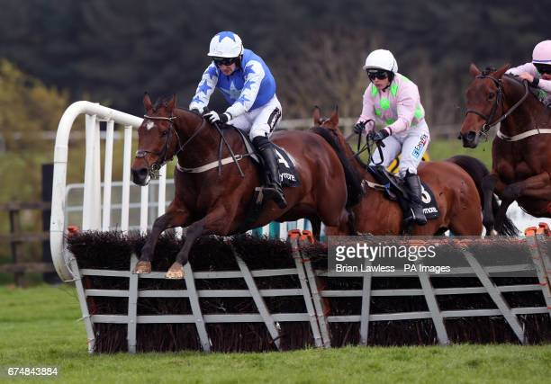 Open Eagle ridden by Patrick Mullins on their way to winning the Ballymore Handicap Hurdle during day five of the Punchestown Festival in Naas Co...