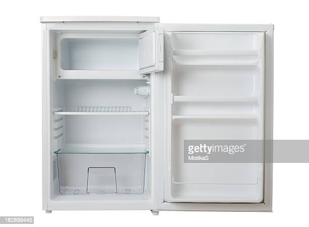 Open, empty and clean white mini refrigerator