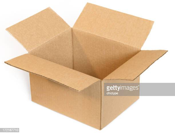 Open empty cardboard box on a white background