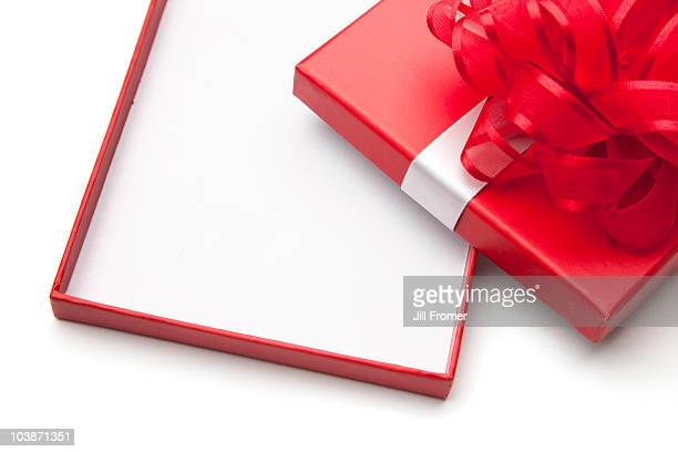 Open Empty Gift Box with Red Bow