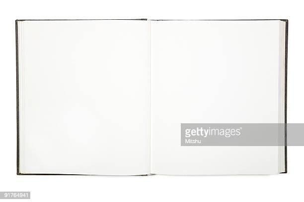 Open empty white hardcover book