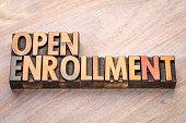 open enrollment word abstract in vintage letterpress wood type