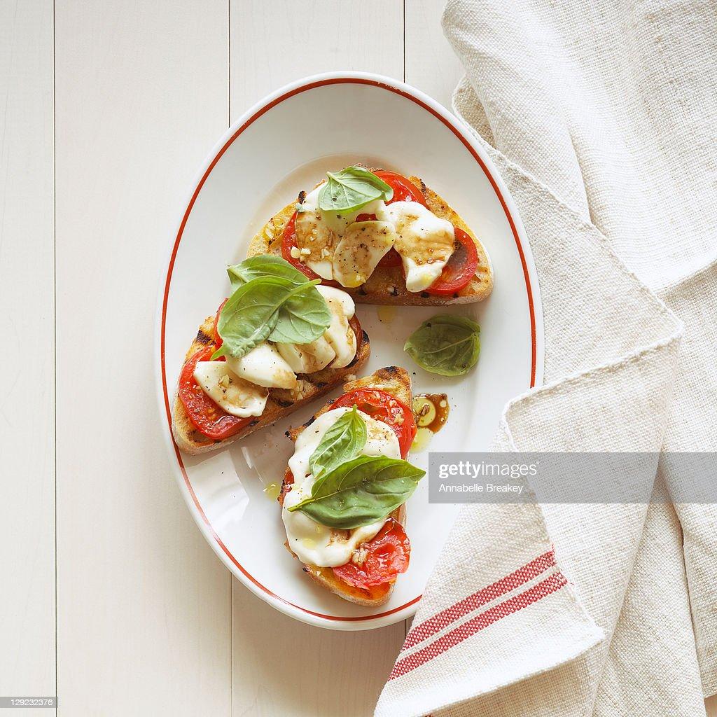 Open Face Caprese Sandwiches : Stock Photo