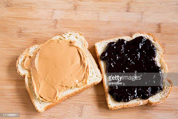 Open Face Peanut Butter and Jelly Sandwich