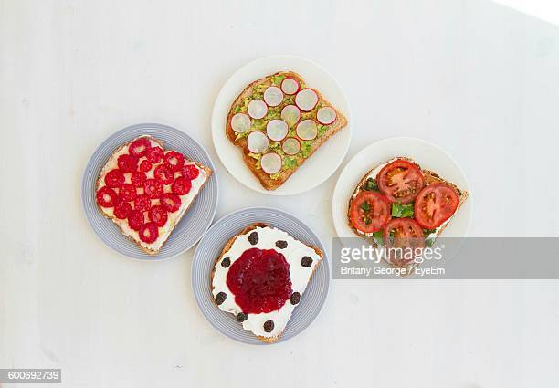 Open Faced Sandwiches On Table