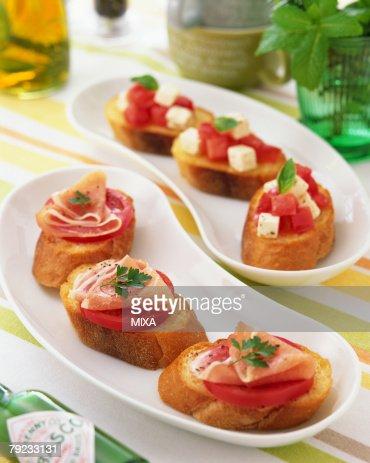 Open faced sandwiches : Stock Photo