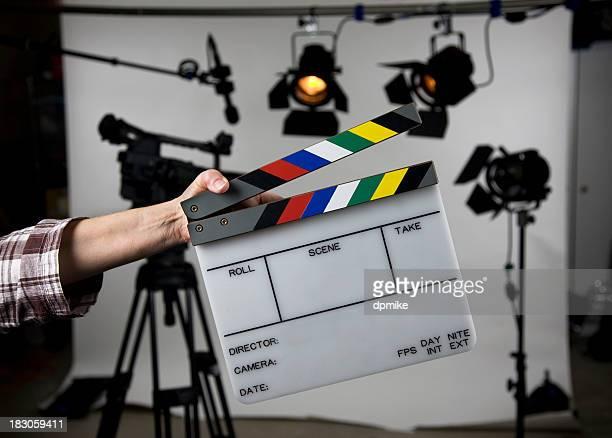 Open film slate on set