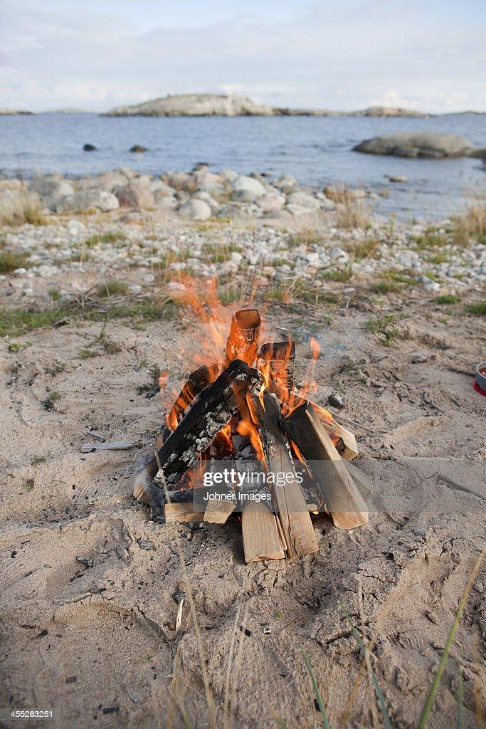 Open fire on beach
