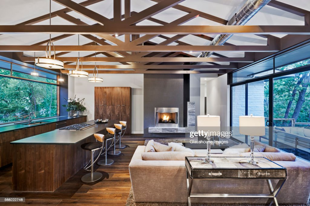 Open Floor Plan of Modern Home with Kitchen and Living Room
