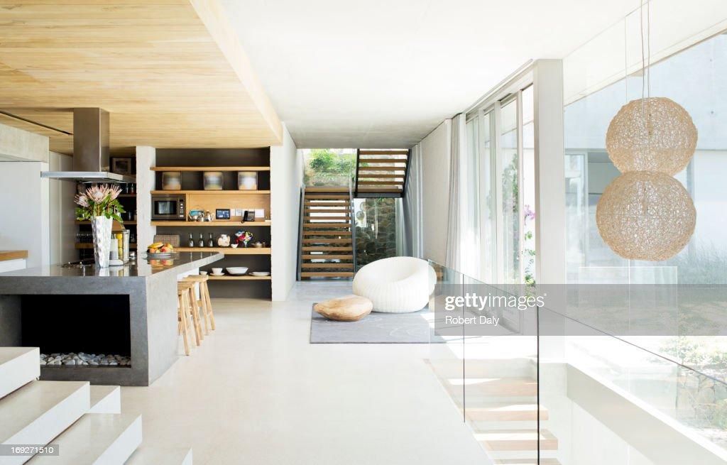 Open floor plan of modern house : Stock Photo