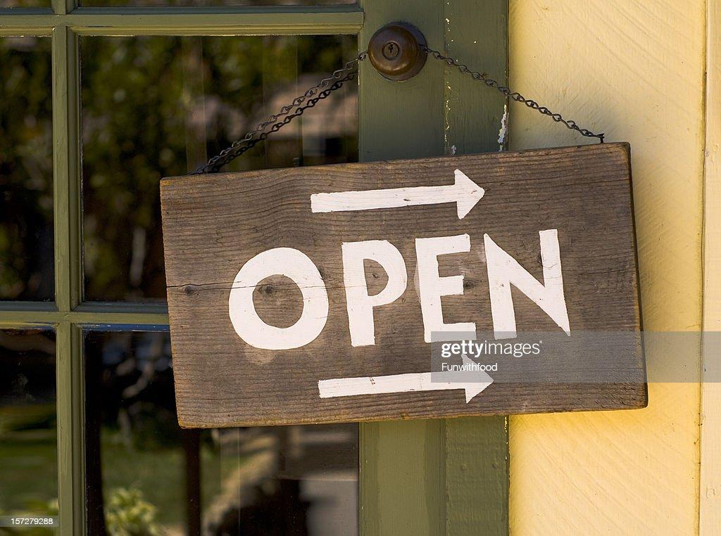 Open for Business Window Sign Hanging & Rustic Wood Entrance Door
