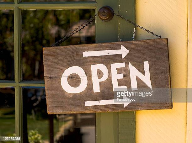 Open for Business Window Sign Hanging & Rustic Wood Entrance Door