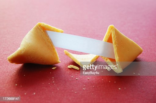 Open fortune cookie with blank fortune