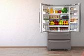 Open fridge  refrigerator full of food in the empty kitchen interior. 3d Illustration