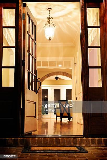 Open front door for a classical living room