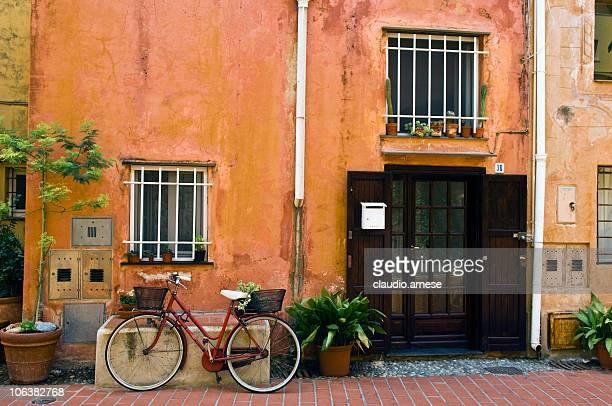 Open Front Door in Old Home. Color Image