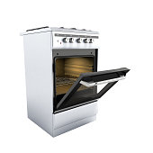 open gas stove 3d render on white background no shadow