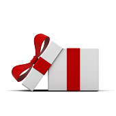 Open gift box and present box with red ribbon bow isolated on white background with shadow . 3D rendering.