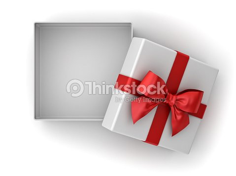 Open gift box christmas present box with red ribbon bow and blank open gift box christmas present box with red ribbon bow and blank space in the negle Images