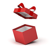 Open gift box , Red present box with red ribbon bow isolated on white background with shadow . 3D rendering.