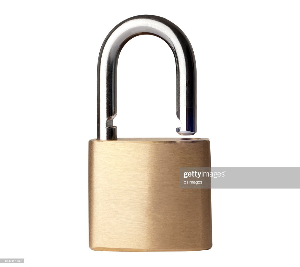 Open gold padlock with a clipping path