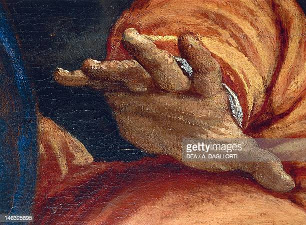 Open hand detail from the Martyrdom of St Sebastian by Paolo Caliari known as Veronese Church of San Sebastiano Venice