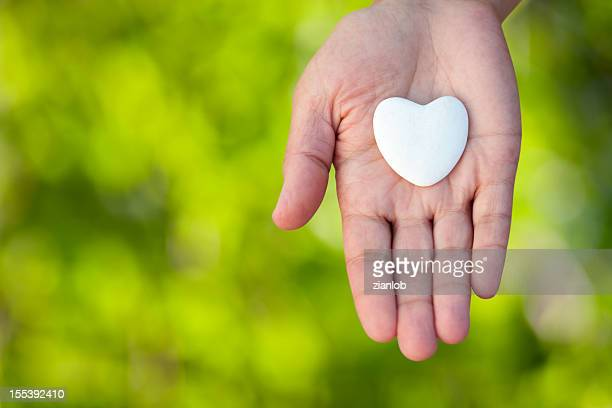 Open hand holding a heart on defocused green background.