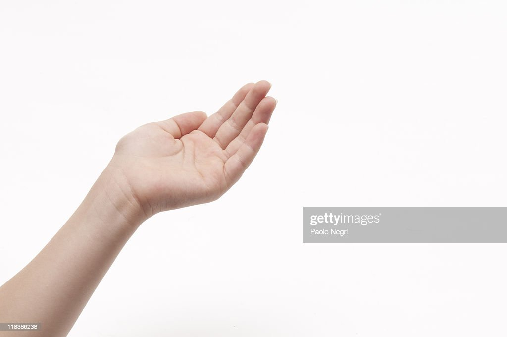 Open hand receives something