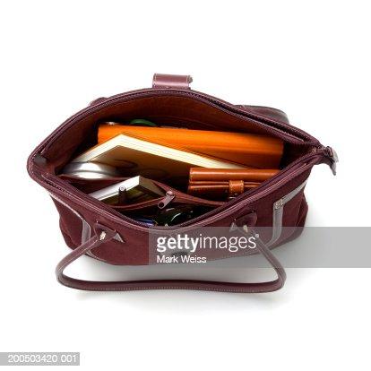Open handbag, overhead view