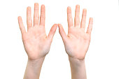 Caucasian white girl is showing her hands with open palms on a white background in close-up