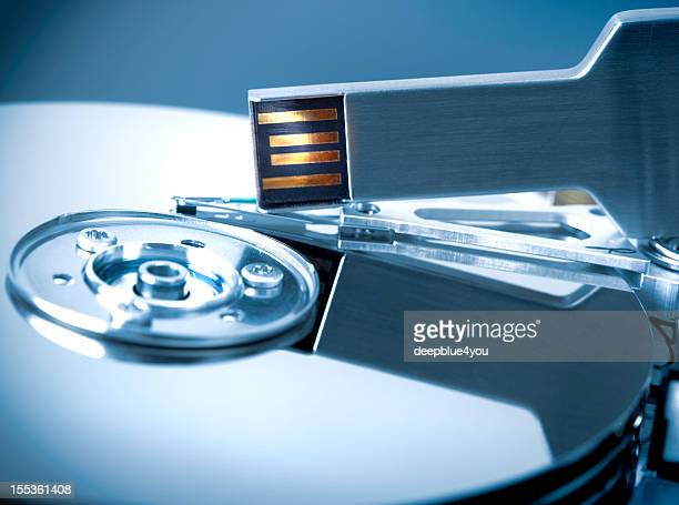 open harddisk and electronic key data security concept