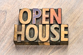 open house word abstract in vintage letterpress wood type printing blocks