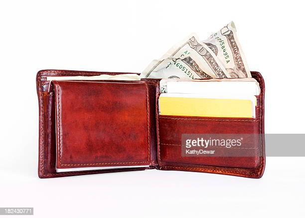 Open Mens Wallet Showing Money and Cards