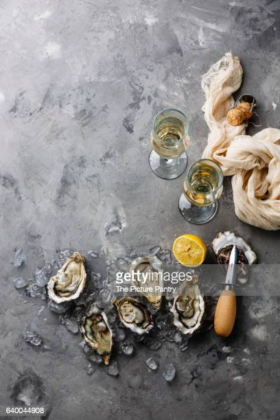 Open Oysters and champagne on gray concrete texture background copy space