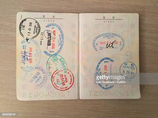Open Passport With Stamps On Pages