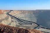 open pit mine in Mongolia, hauling trucks