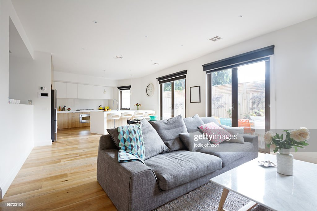 Open Plan Living Room Kitchen Contemporary Home Stock Photo Thinkstock