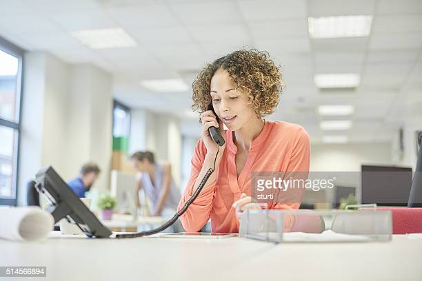open plan office phone call