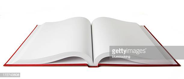 Open red book with blank white pages on a white background